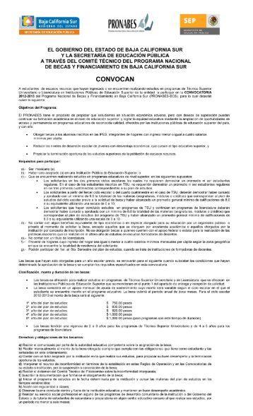 Becas PRONABES Ciclo Escolar 2012-1013 - Secretaria de ...