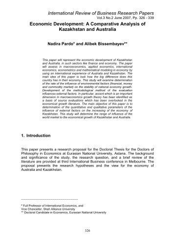 A Comparative Analysis of Kazakhstan and Australia - International ...