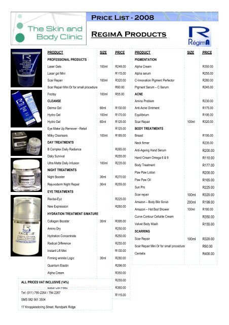 Price List-2008 RegimA Products - The Skin and Body Clinic