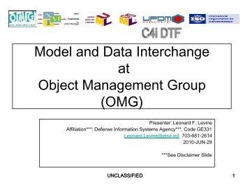 Model and Data Interchange at OMG