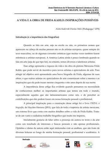 A VIDA E A OBRA DE FRIDA KAHLO: INSPIRAÇÕES POSSÍVEIS