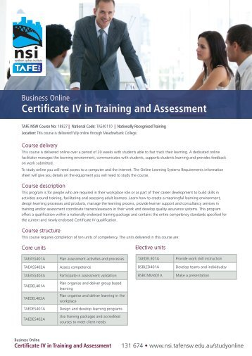 Business Online Certificate IV In Training And Assessment