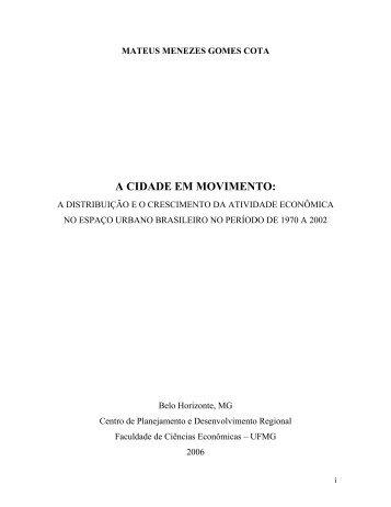 A CIDADE EM MOVIMENTO: - Universidade Federal de Minas Gerais