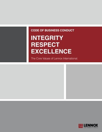 INTEgrITy rESpECT ExCEllENCE - Thecorporatelibrary.net