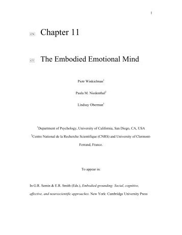 The embodied emotional mind. - UCSD Cognitive Science