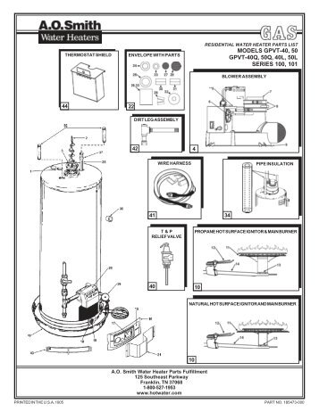 40 gallon water tank wiring diagram with Ao Smith Water Heater Parts on Water Heater Construction also Ao Smith Water Heater Parts also Gas Water Heater Placement as well