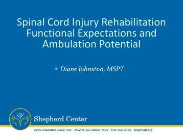 Spinal Cord Injury Rehabilitation Functional ... - Shepherd Center