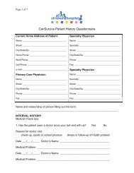 Patient History Form - All Children's Hospital