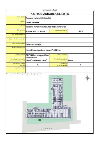 KARTON ZGRADE/OBJEKTA - PMF - Univerzitet u Tuzli
