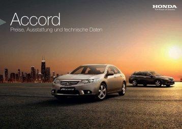 Preise, Ausstattung und technische Daten - Honda