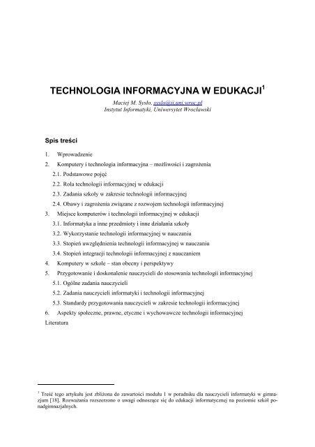 Technologia Informacyjna W Edukacji Stowarzyszenie