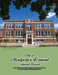 2013 Annual Report Now Available - City of Montpelier, Vermont