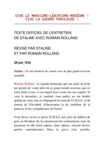 Entretien avec Romain Rolland - Marxiste