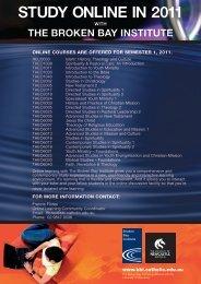 STUDY ONLINE IN 2011 - Broken Bay Institute