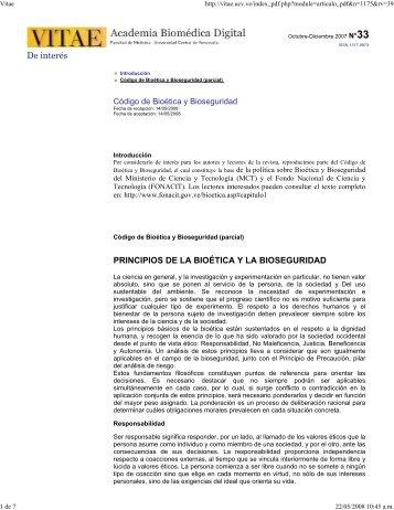 De interés PRINCIPIOS DE LA BIOÉTICA Y LA BIOSEGURIDAD