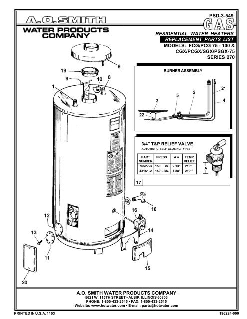 Replacement Parts List Ao Smith Water Heaters