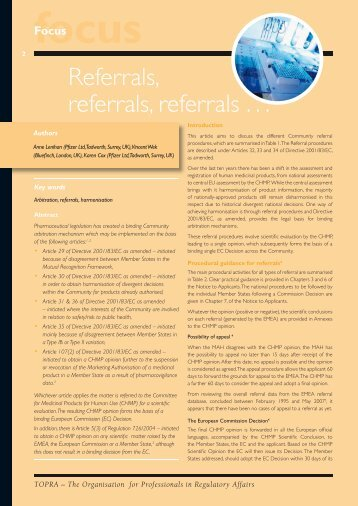 Referrals, referrals, referrals . . . - TOPRA