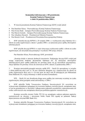 Komunikat informacyjny z III posiedzenia Komisji Nadzoru ...