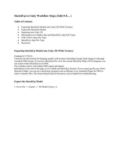 SketchUp to Unity Workflow Steps pdf - BIM Wiki