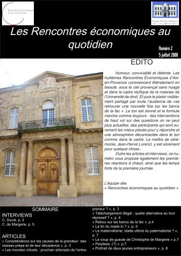 Les Rencontres économiques au quotidien - Sciences Po Aix