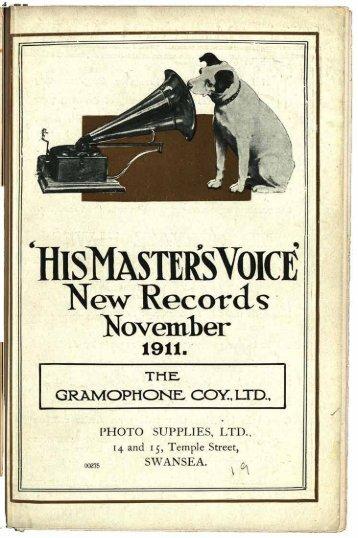 His Master's Voice New Gramophone Records November 1911
