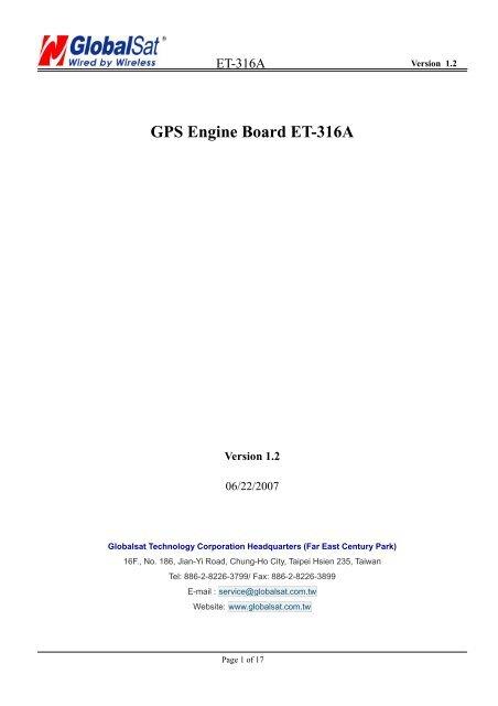 GPS Engine Board ET-316A - GlobalSat