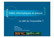 Délits informatiques et preuve - Actes du SSTIC