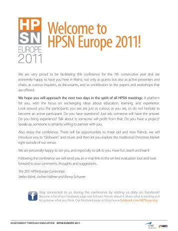 Welcome to HPSN Europe 2011! - Human Patient Simulation Network