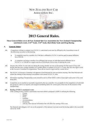 Nzsca Slot Car Drag Racing A A A General Racing Rules