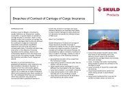 Breaches of Contract of Carriage of Cargo - Skuld