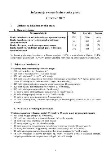 Informacja o cieszyńskim rynku pracy Czerwiec 2007 - Powiatowy ...