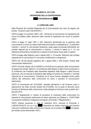 Delibera 35/11/CRL - Corecom Lazio