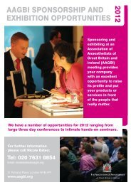 AAGBI SPONSORSHIP AND EXHIBITION OPPORTUNITIES 2012