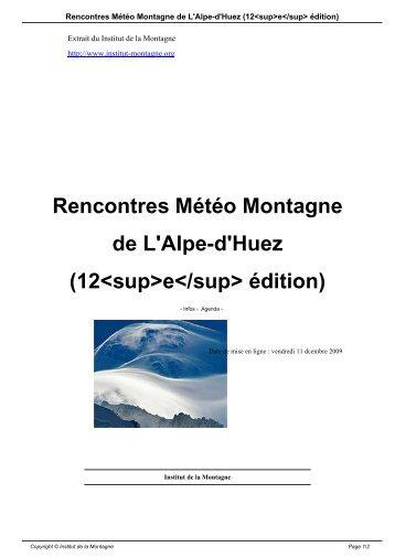 Rencontres Météo Montagne de L'Alpe-d'Huez - Institut de la ...