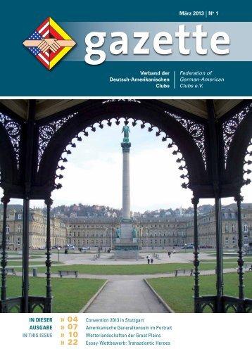 Gazette 2013/01 - Verband der Deutsch-Amerikanischen Clubs