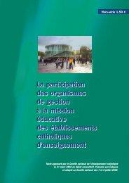 La participation des organismes de gestion à la mission éducative ...