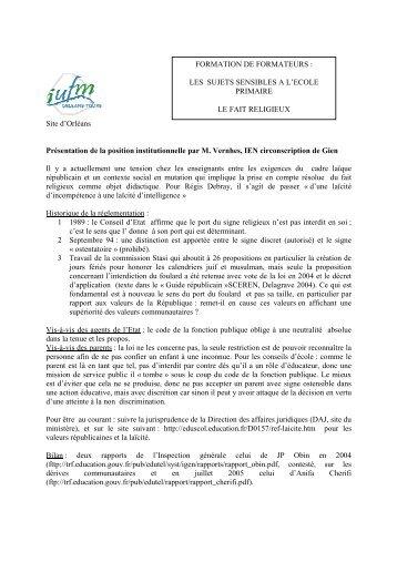 Site d'Orléans Présentation de la position institutionnelle par ... - IUFM