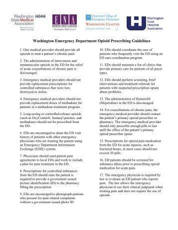 ED Opioid Prescribing Guidelines - Washington ACEP