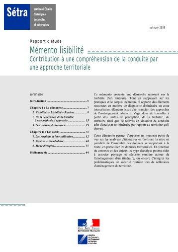 Mémento lisibilité - Contribution à une compréhension de la ... - Sétra