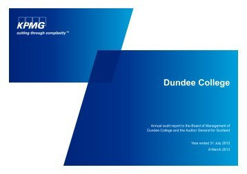 Dundee College (PDF | 233 KB) - Audit Scotland