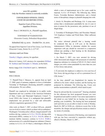 Muracco v. Township of Washington - Appellate Law NJ Blog