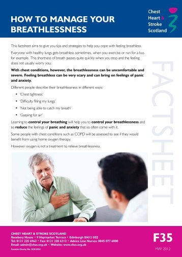 How To Manage Your Breathlessness - Chest Heart & Stroke Scotland