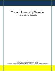 2010-2011 Catalog - Touro University Nevada - Touro College