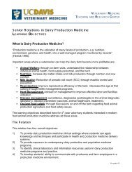 Learning Objectives for Senior Rotations in Dairy Production Medicine