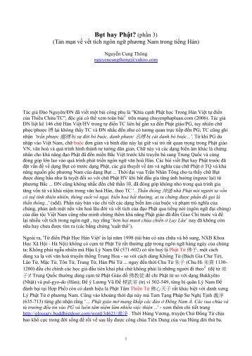 Nguyễn Cung Thông Bụt hay Phật? (phần 3)