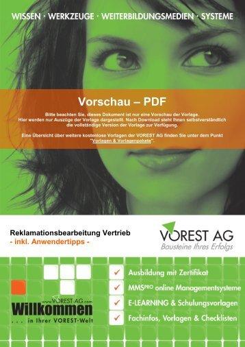 Reklamationsbearbeitung Vertrieb - Vorest AG