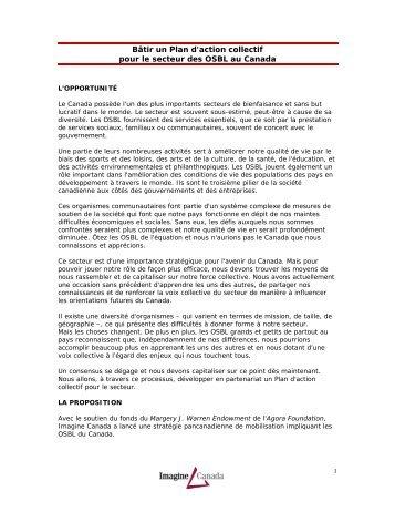Bâtir un Plan d'action collectif pour le secteur des ... - Imagine Canada