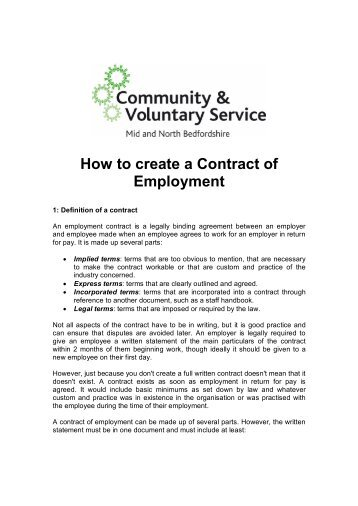 How To Create A Contract Of Employment   Voluntary Works