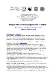 Projekt Metabolické diagnostické centrum - Ústav dědičných ...