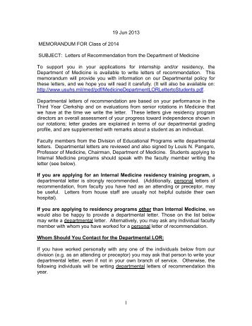 residency letter of recommendation template